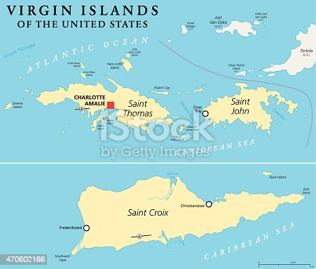 United States Virgin Islands Political Map. A group of islands in the Caribbean that are an insular area of the United States. English labeling and scaling. Illustration.