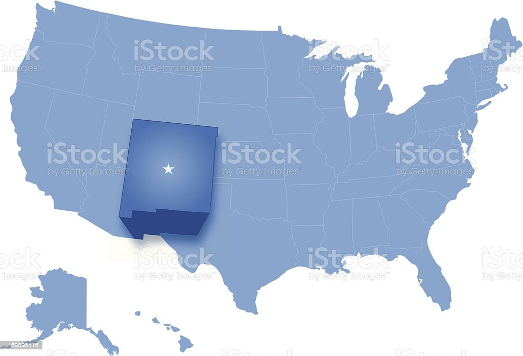 United States where New Mexico is pulled vector art illustration