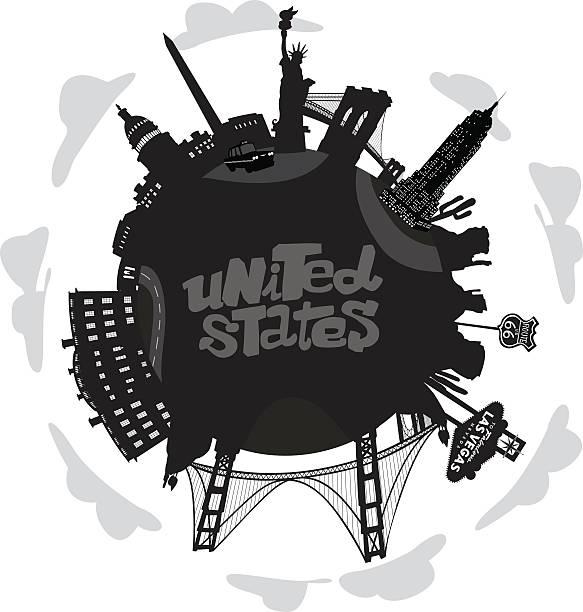 united states welt mit bedeutende gebäude - abgeordnetenhaus stock-grafiken, -clipart, -cartoons und -symbole
