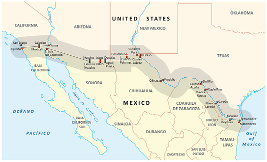 united states-mexico border map