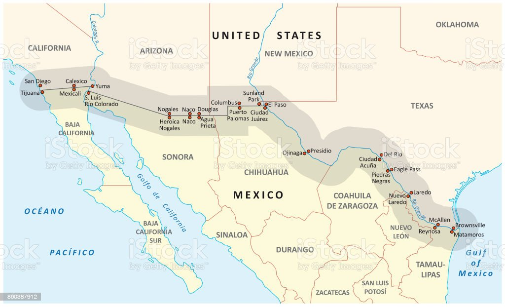 united states-mexico border map vector art illustration