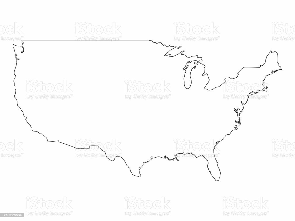 United States Of America Map Outline.Unites State Map Outline Graphic Freehand Drawing On White