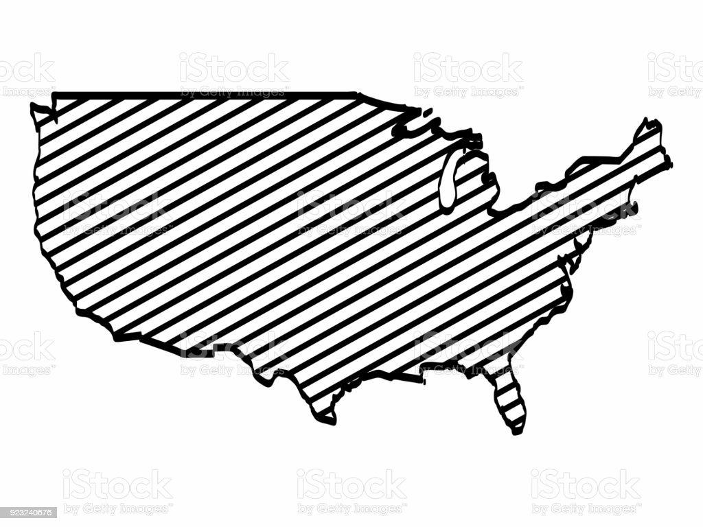 Vereint State Karte Umriss Grafik Freihandzeichnen Auf ...