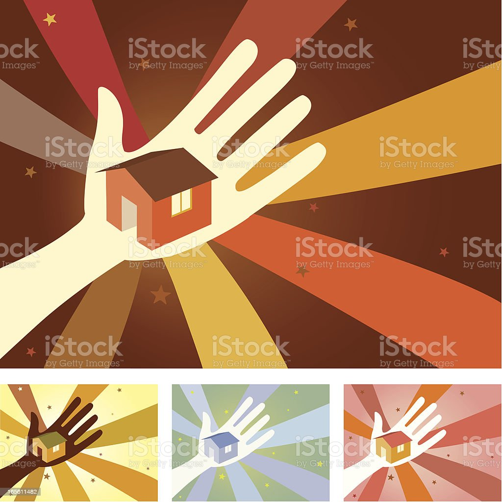 Unity Hands - Home vector art illustration