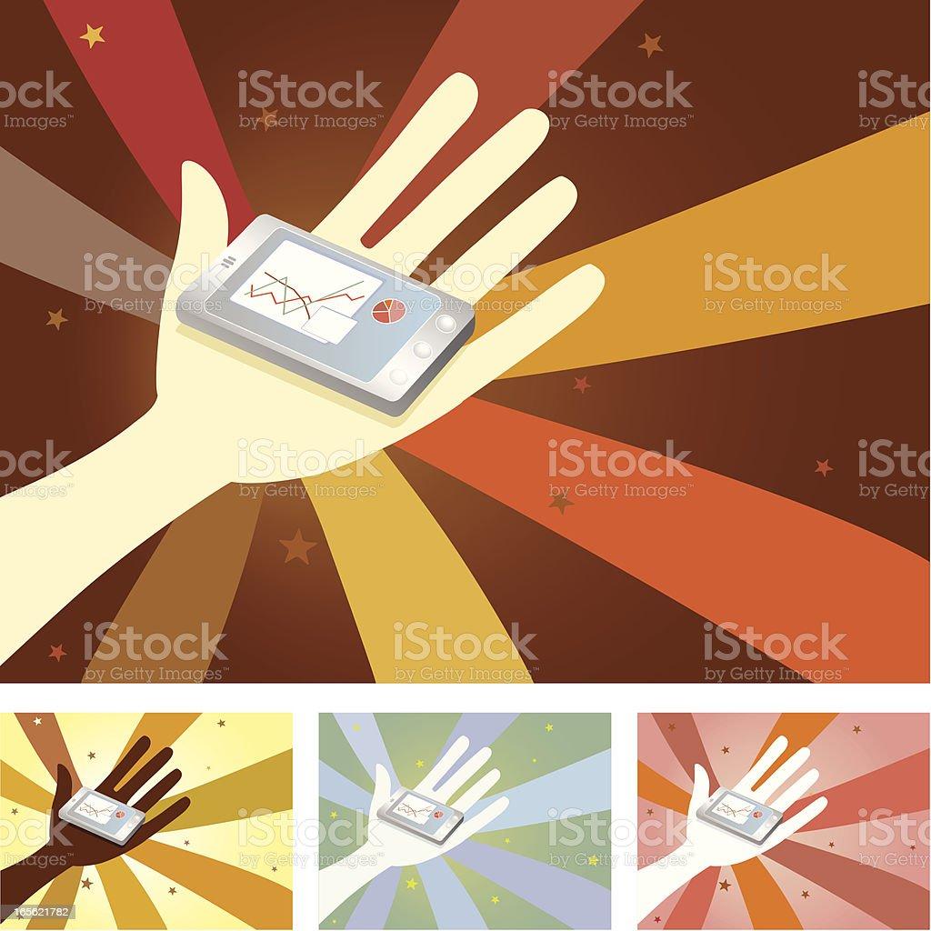 Unity Hands - Touchscreen Phone vector art illustration