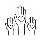 Unity in diversity linear vector icon. No to racism. Volunteers. Helping hands. Voting