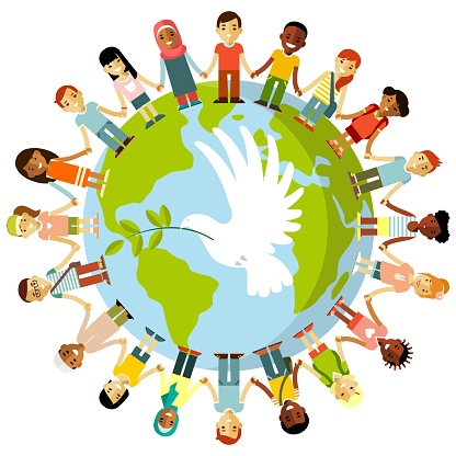 Unity of kids and dove of peace concept