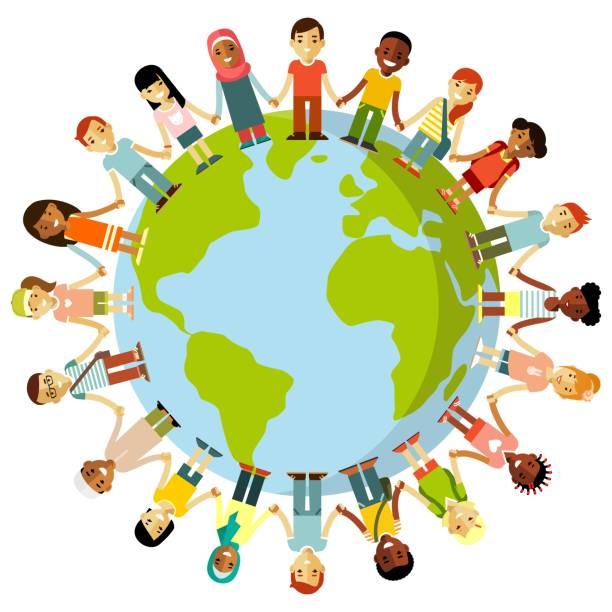 ilustrações de stock, clip art, desenhos animados e ícones de unity of kids and planet earth concept - dia