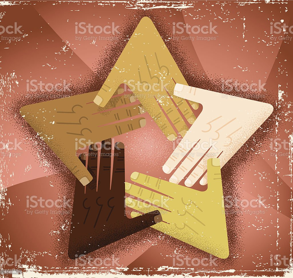 Unity Star Hands royalty-free stock vector art