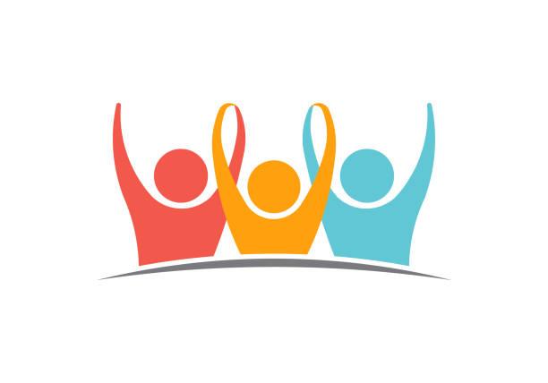 ilustraciones, imágenes clip art, dibujos animados e iconos de stock de logo de la unidad tres personas ilustración - soporte conceptos