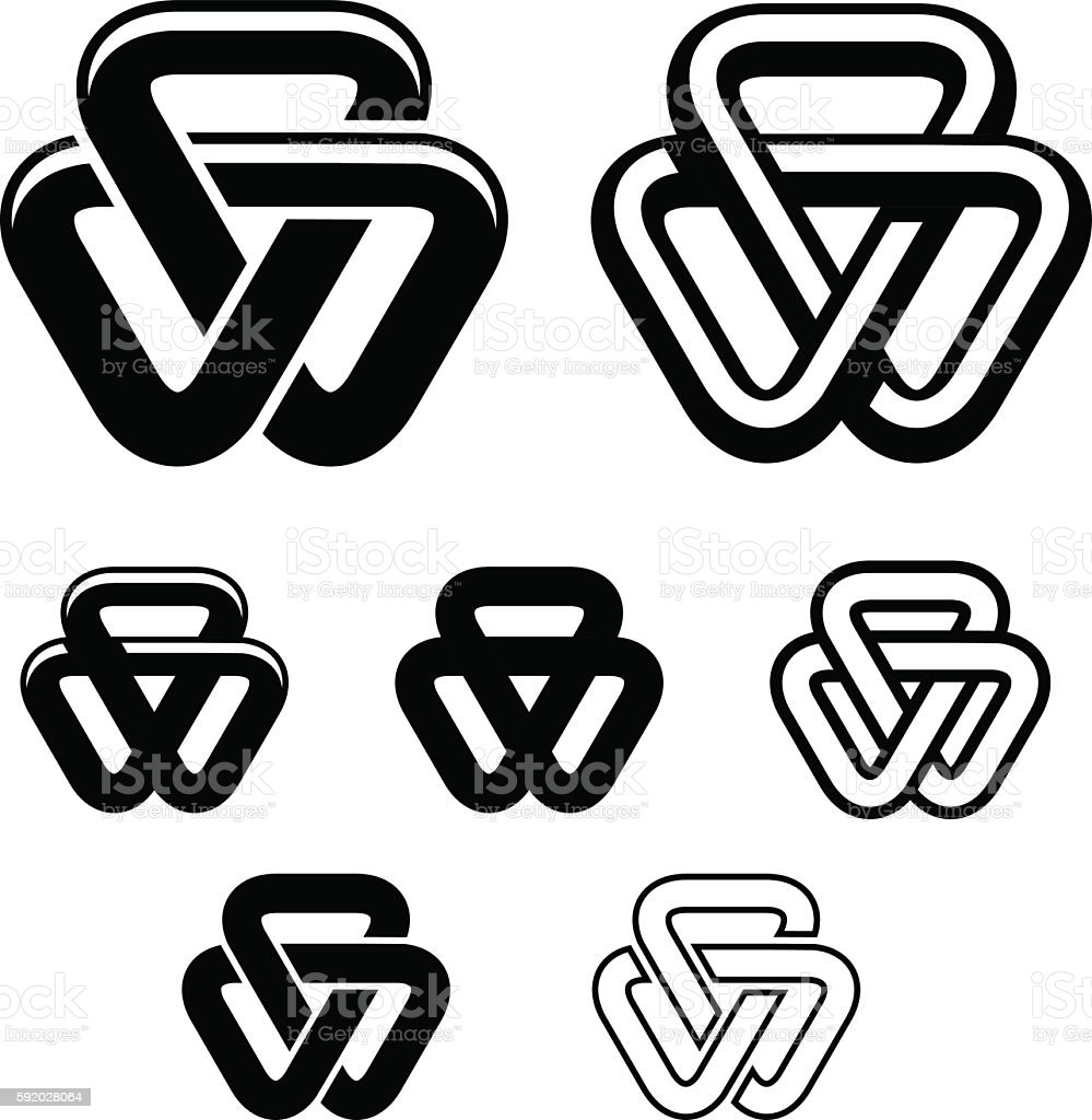 Unity Triangle Black White Symbols Stock Vector Art More Images Of