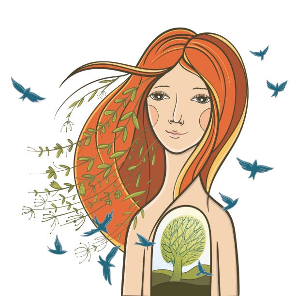 unity with nature vector art illustration