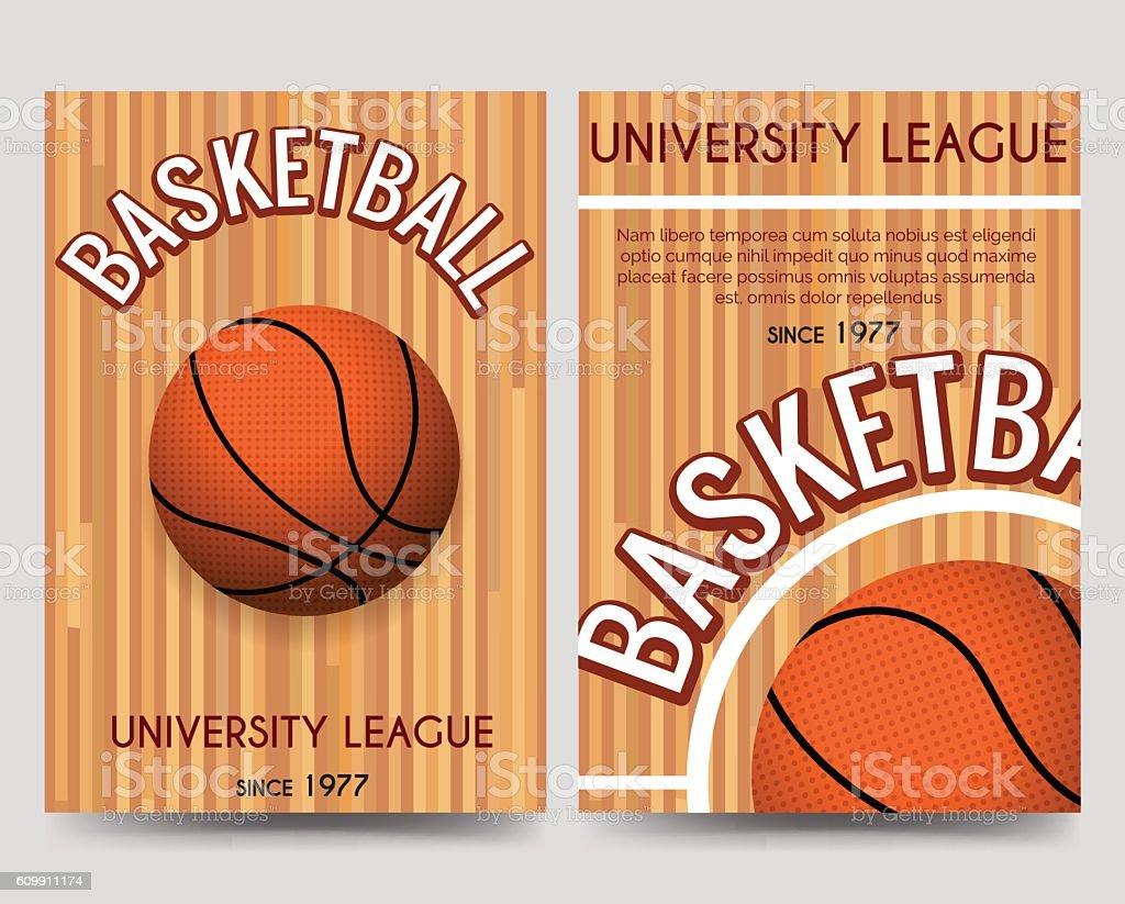 ... Univercity Basketball Flyer Template With Ball Vector Art Illustration  ...