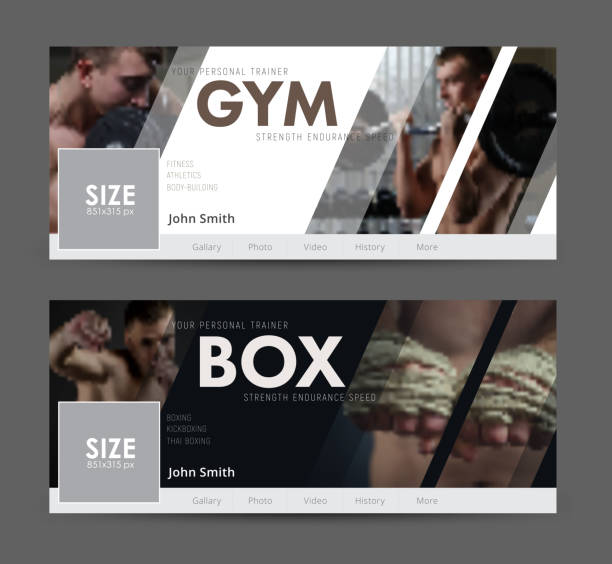 universal advertising template  banner for social networks with diagonal elements for the image of the gym, sports - martial arts stock illustrations
