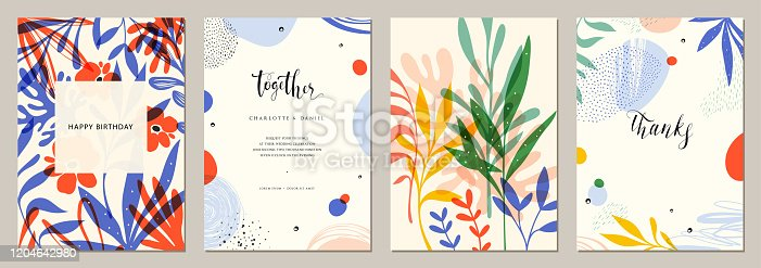 Set of abstract creative universal artistic templates.