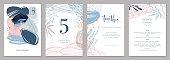 Invitation, menu, table number card design. Floral wedding templates.