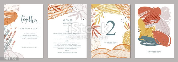 Invitation, menu, table number card design. Floral wedding templates. Good for birthday, bridal and baby shower.