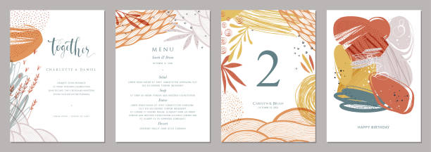 Universal Art Templates_08 Invitation, menu, table number card design. Floral wedding templates. Good for birthday, bridal and baby shower. natural pattern stock illustrations