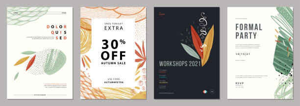 Universal Art Templates_10 Set of abstract artistic templates. Good for poster, card, invitation,flyer, cover, banner, placard, brochure and other graphic design. autumn drawings stock illustrations