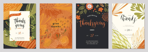 Universal Autumn Templates_06 Trendy abstract Thanksgiving templates. Good for poster, card, invitation, flyer, cover, banner, brochure and other graphic design. autumn drawings stock illustrations