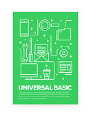 Universal Basic Icons Line Style Cover Design for Annual Report, Flyer, Brochure.