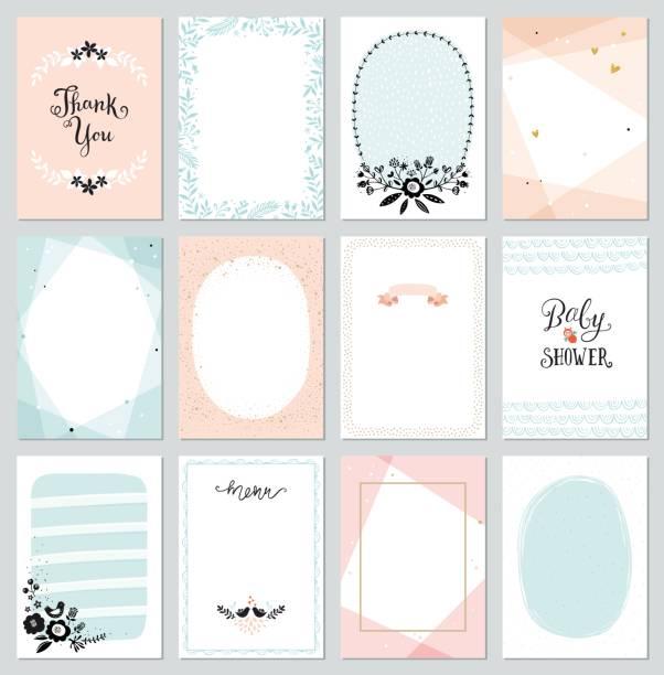 ilustraciones, imágenes clip art, dibujos animados e iconos de stock de universal cards templates - baby shower
