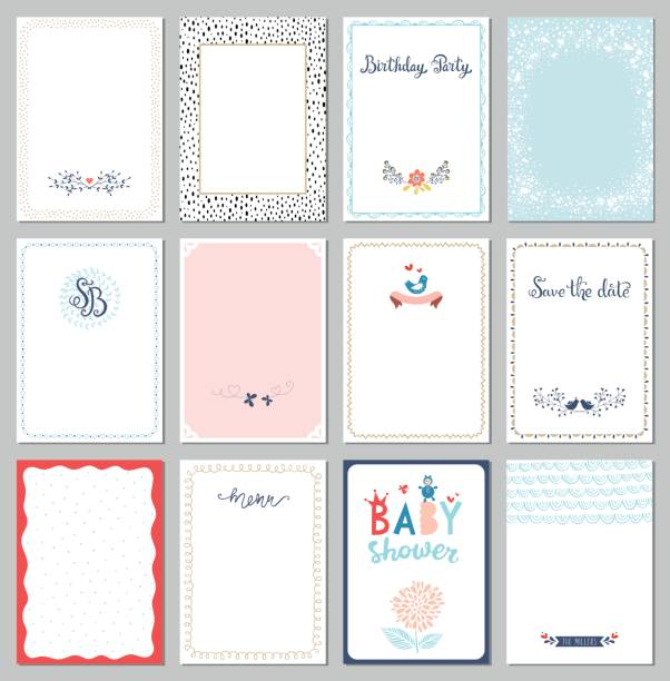 ilustraciones, imágenes clip art, dibujos animados e iconos de stock de plantillas de tarjetas universales - baby shower