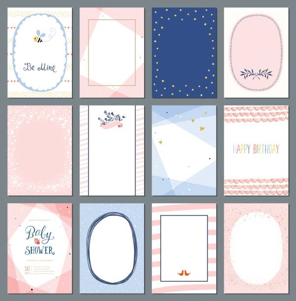 universal cards templates_07 - baby shower stock illustrations, clip art, cartoons, & icons