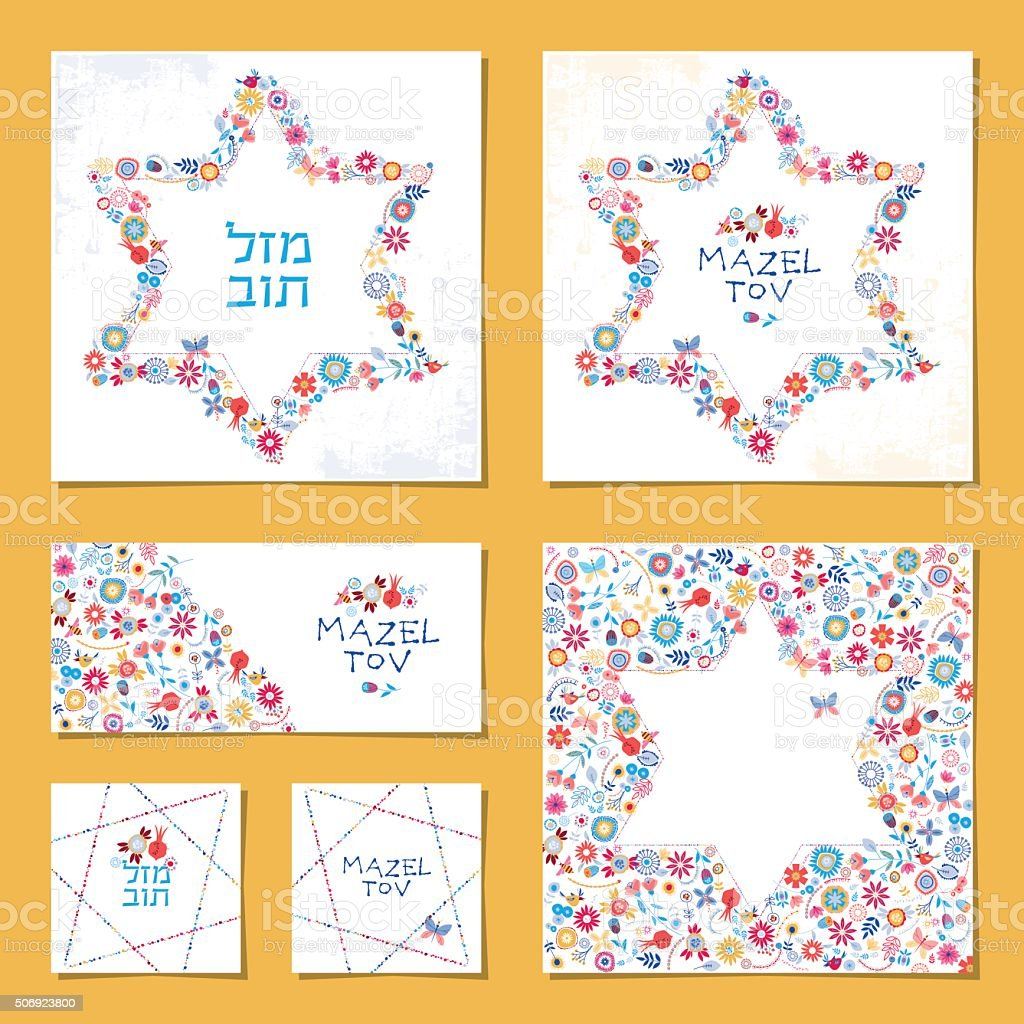 "Universal cards with Star of David and words ""Mazel Tov"" vector art illustration"