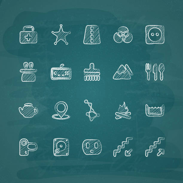 stockillustraties, clipart, cartoons en iconen met universal chalk icons in doodle style 15 - board game outside