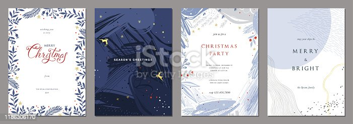 Merry Christmas and Modern Business Holiday cards. Abstract creative universal artistic templates.