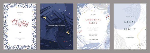 Universal Christmas Templates_01 Merry Christmas and Modern Business Holiday cards. Abstract creative universal artistic templates. greeting card stock illustrations