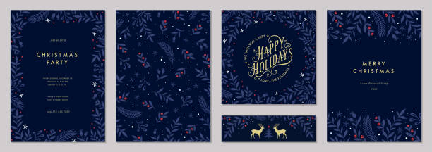 Universal Christmas Templates_01 Modern universal artistic templates. Merry Christmas Corporate Holiday cards and invitations. Floral frames and backgrounds design. noel stock illustrations