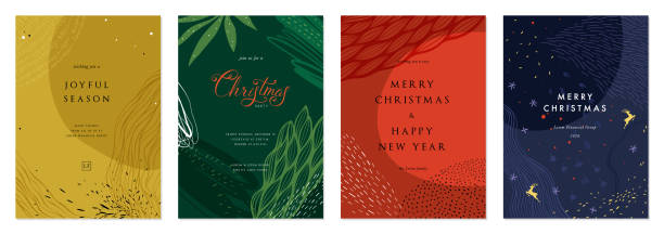 Universal Christmas Templates_02 Merry Christmas and Bright Corporate Holiday cards. Modern abstract creative universal artistic templates. natural pattern stock illustrations