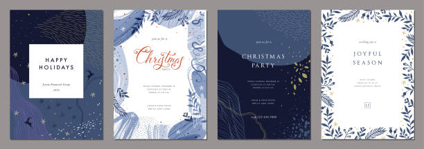 universal christmas templates_04 - blue drawings stock illustrations