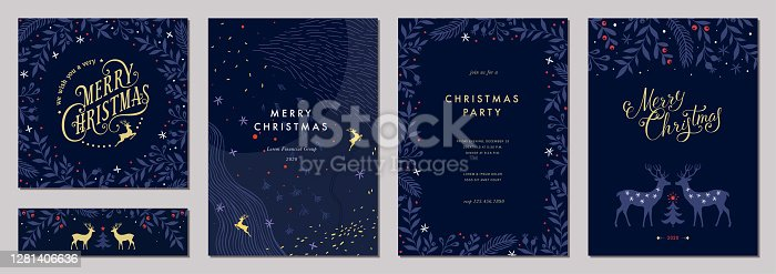 Modern universal artistic templates. Merry Christmas Corporate Holiday cards and invitations. Abstract frames and backgrounds design.