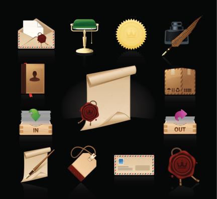 Universal dark icons set | Old-fashioned Post