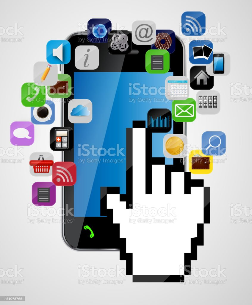 Universal design mobile phone with mouse hand cursor, app icons royalty-free universal design mobile phone with mouse hand cursor app icons stock vector art & more images of abstract