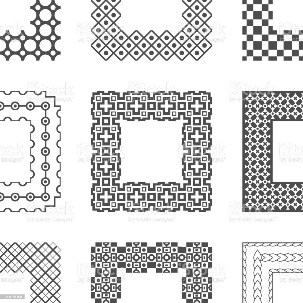 Universal different vector pattern brushes with corner royalty-free stock vector art