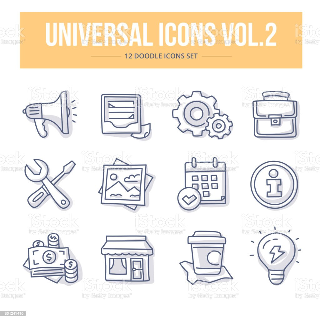 Universal Doodle Icons vol.2 royalty-free universal doodle icons vol2 stock vector art & more images of advertisement