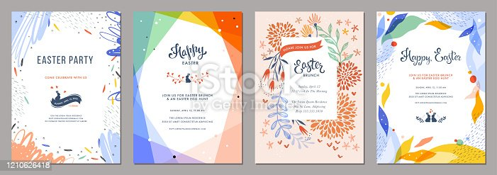 Trendy abstract Easter templates. Good for poster, card, invitation, flyer, cover, banner, placard, brochure and other graphic design.