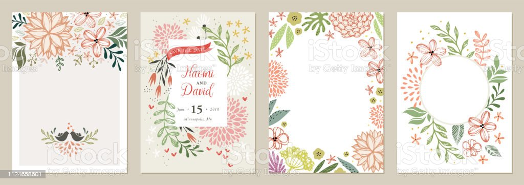 Universal tarjeta Floral Templates_01 ilustración de universal tarjeta floral templates01 y más vectores libres de derechos de aniversario libre de derechos