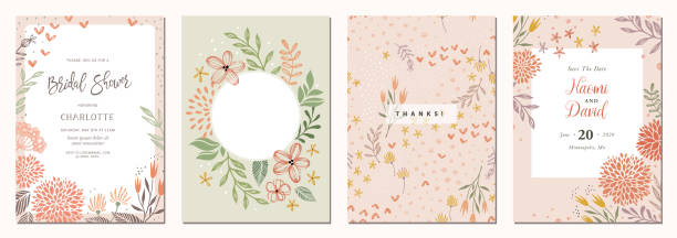 Universal Floral Templates_02 Set of floral universal artistic templates. Good for greeting cards, invitations, flyers and other graphic design. anniversary drawings stock illustrations