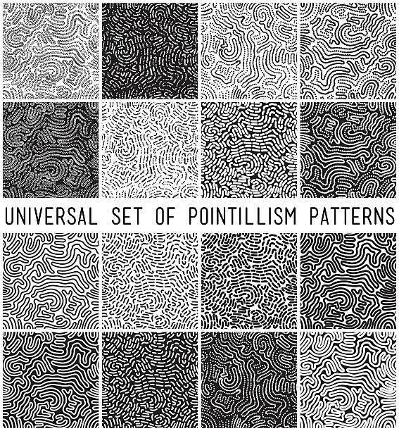 universal geometric striped dotted seamless pattern set - squiggle line stock illustrations, clip art, cartoons, & icons