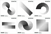 Set 6 Universal Halftone Geometric Shapes For Design Black And White Color