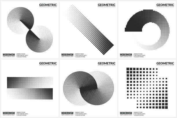 stockillustraties, clipart, cartoons en iconen met universele halftone geometrische vormen voor ontwerp - parallel