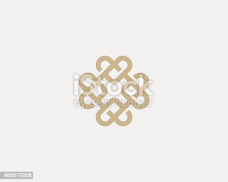 Universal heart ornament icontype. Abstract line creative icon icon design