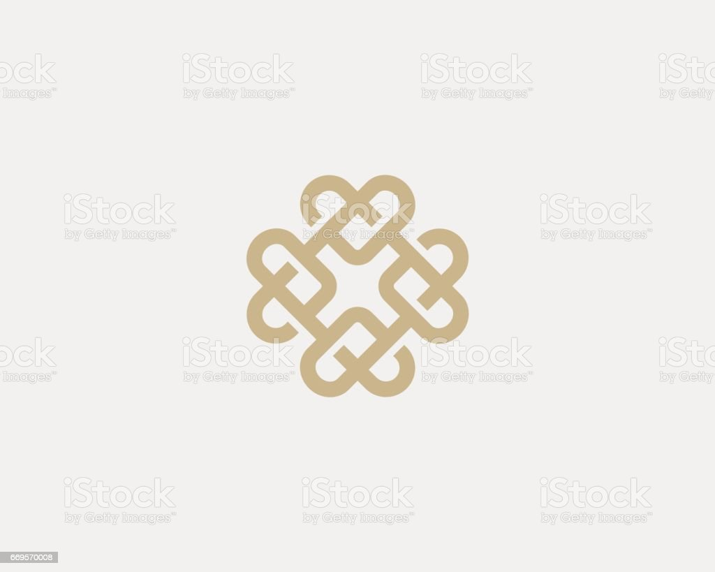 Universal heart ornament logotype. Abstract line creative logo icon design. vector art illustration