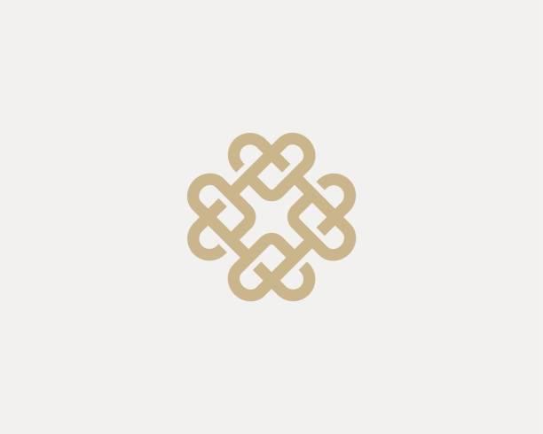 ilustraciones, imágenes clip art, dibujos animados e iconos de stock de logotipo de ornamento del corazón universal. línea abstracta creativo icono diseño. - logos de médico
