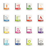 Universal Icon Set: Ringbinder Style File Types
